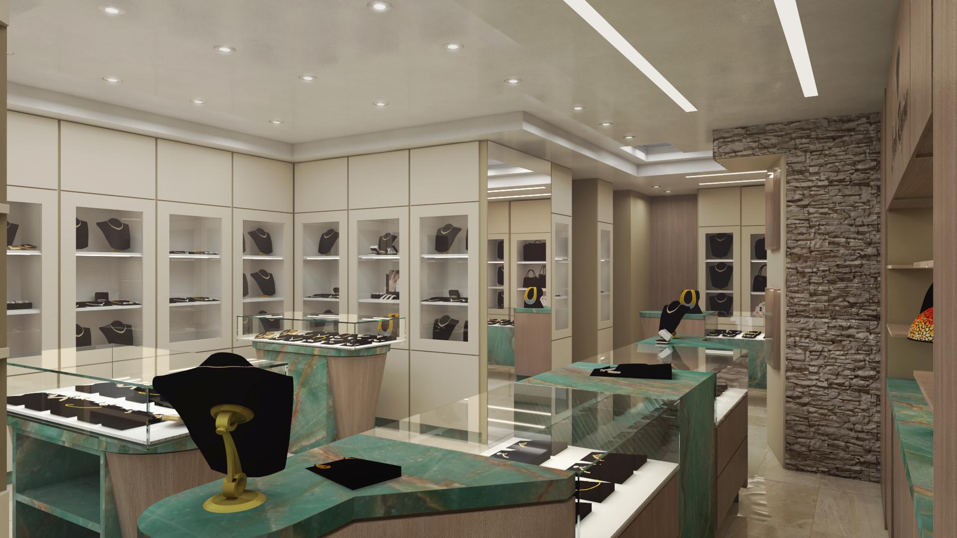 Progetto gioielleria foggia render gioielleria co de for G g arredamenti